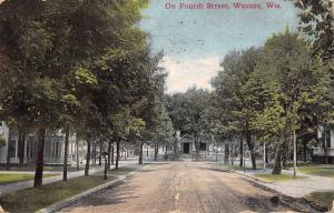 Wausau Wisconsin~Homes on Fourth Street~T Intersection~Dirt Road~c1912 Postcard