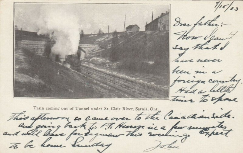 SARNIA, Ontario, Canada, 1900-10s; Train coming out of Tunnel under River