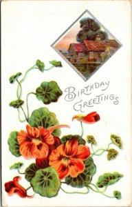 BIRTHDAY GREETINGS - COTTAGE - HOUSE - FLOWERS NATURE SCENE - VINTAGE POSTCARD