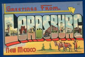 Lordsburg New Mexico nm large letters letter linen postcard