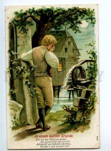240414 Crying Man in MOON Light Water Mill Vintage Embossed PC