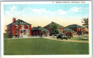 Ashtabula, Ohio Postcard GENERAL HOSPITAL Buildings View Curteich c1930s unused