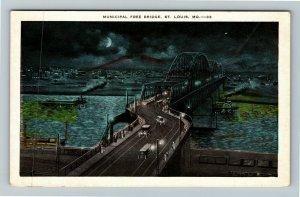St Louis MO-Missouri, Municipal Free Bridge, Vintage Postcard