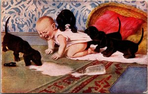 POSTCARD - Baby Spilled Milk with Dogs  - SHEAHAN'S FAMOUS PICTURE POST CARD