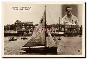 Old Postcard Boat Sailboat Alin Gerbault on its Fire Crest