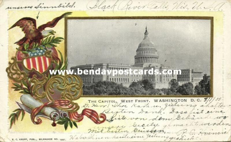 Washington, D.C., The Capitol, West Front, Coat of Arms, Embossed (1905)
