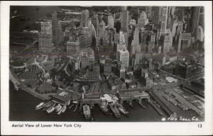 Aerial View Downtown Manhattan New York City Real Photo Postcard