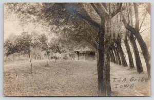 Ida Grove IA Old Settlers Cabin~Logs Came From Mrs Sutherland's Cousin~RPPC 1910
