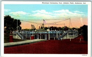 Anderson, Ind. Postcard Municipal Swimming Pool, Athletic Field Curteich Linen