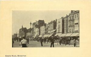 Brighton England~King's Road Street~Chemist~Shops~Hansom Cab~Carriages~1910 PC