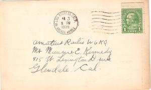 Penny Post Card 1939 Franklin # 632