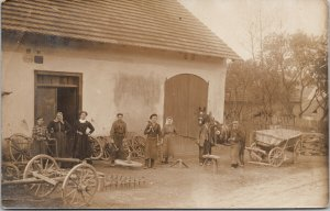 Men & Women Workers Wheels Labour Tools Unknown Location Real Photo Postcard G53