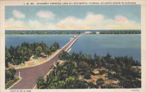 Causeway Crossing The Lake At Lake Worth Florida 1936 Curteich