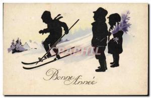 Old Postcard Against Light Kids Ski