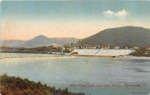F53/ Portsmouth Ohio Postcard 1934 Ohio River Lock Dam #31 Boats
