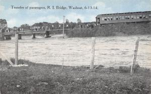 Luverne MN~Omaha Rock Island Bridge Washout~Train Passenger Transfer~6-13-1914