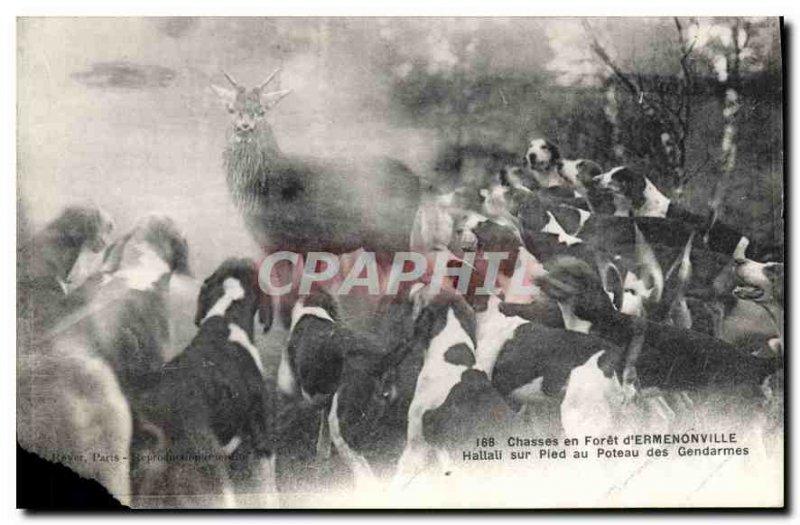 Postcard Old Hunts in Foret Ermenonville Hallali on foot in Poteau Gendarmes ...
