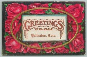 Palisades Colorado~Rose Petal Embossed Greetings~Art Nouveau c1910 Gold Oval PC