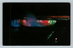 Niagara ON-Ontario Canada, Canadian Falls At Night, Chrome Postcard
