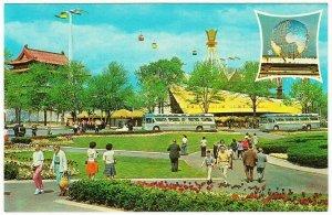 Polynesian Restaurant and Greyhound Bus New York World's Fair 1964 Postcard