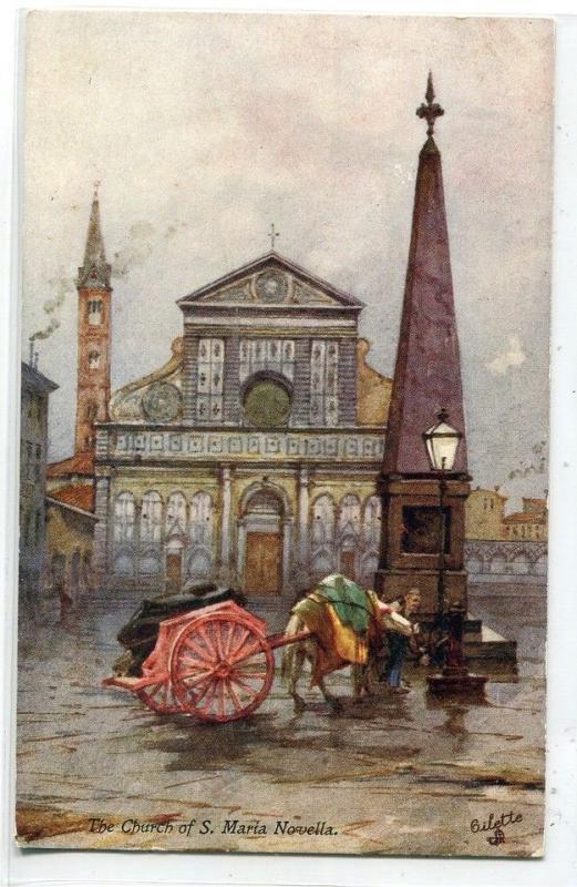 Church of S Maria Novella Florence Italy Tuck Oilette 1910c postcard