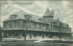 Parsons KS KATY RR Train Station Depot 1907 Used Postcard