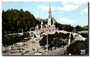 Old Postcard Lourdes Basilica