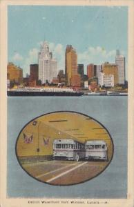 Canada Detroit Waterfront and Tunnel With Buses Looking From Windsor 1945