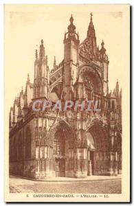 Old Postcard Caudebec en Caux L & # 39Eglise