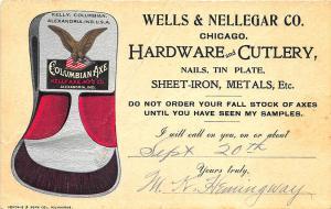 Chicago IL Wells Nellegar Hardware Cutlery 1894 Multi-Color Postal Card