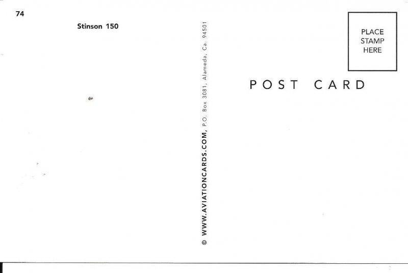 Stinson 150 Voyager Prop Airplane Postcard PC102H-6321