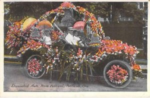 Decorated Auto Car Portland Rose Festival, Oregon Vintage Unused Postcard