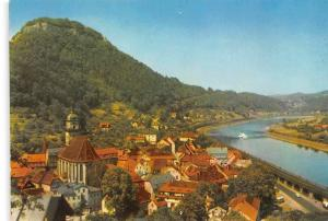 Koenigstein Sachs. Schweiz Kirche Church River Boat General view