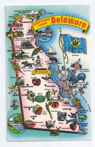 Greetings From Delaware Map 1977 Chrome Tichnor Postcard