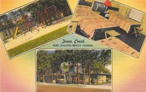 Fort Walton Beach FL Texas Court  Linen Postcard