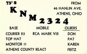 Vintage QSL Postcard  KNM 2324  Athens, Ohio   Don Pat Karen Fritz Olber   -T-