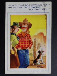 TAYLOR Bamforth & Co: Cowboy & Dog DOG HOWLING, HE MISSED THE CACTUS No.1065