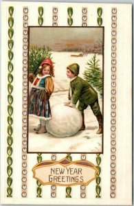 Vintage HAPPY NEW YEAR Embossed Postcard Boy & Girl / Large Snowball c1910s