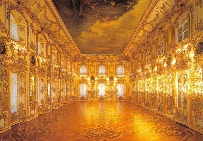 St Petersburg Russia Postcard Peterhof, The Great Palace, The Ball Room Y6