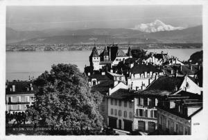 Vintage REAL PHOTO Postcard NYON General View Castle & Mount Blanc SWITZERLAND