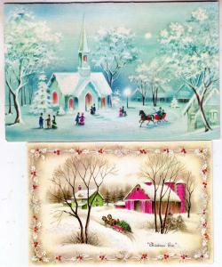 2 - Christmas Cards (1 Glass Beaded)