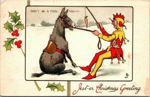 RARE - JESTER Donkey's - Christmas Tuck Postcard - 8239 - JEST-ER VINTAGE