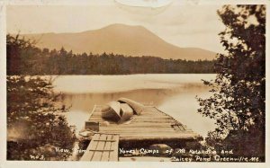 GREENVILLE ME~VIEW FROM YORKS CAMP-MT KATAHDIN & DAICEY POND~REAL PHOTO POSTCARD