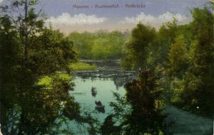 poland, MAZURY MASUREN, Kruttinnanfluss, Reitbrücke (1921) Bahnpost Zug 505