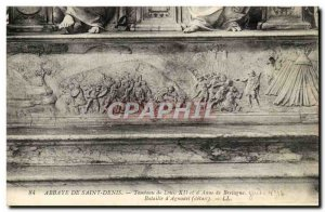 Abbey of St. Denis Postcard Ancient Tomb of Louis XII and & # 39Anne of Battl...