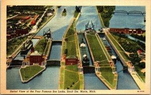 Sault Ste. Marie, Michigan, MI, The Locks, linen Vintage Postcard