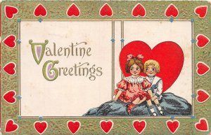 G19/ Valentine's Day Love Holiday Postcard c1910 Heart Border Kids 13