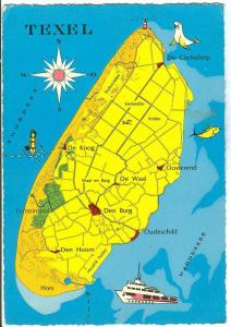 Holland, Netherlands, Texel, Map, 1962 used Postcard