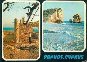 Postcard Cyprus multi view paphos ruins cliff rocks stone waves ocean sea