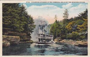 Excursion Steamer in the narrows, Dells of the Wisconsin River, Wisconsin, PU...